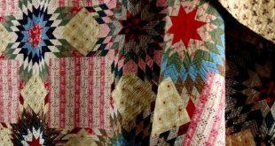 BEAUTIFUL Antique Handmade Lae 1800s PRARIE STAR BOUQUET Quilt. by doreen.m