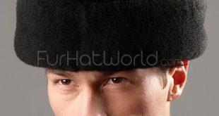 Black Mouton Sheepskin Russian Cossack Hat for Men