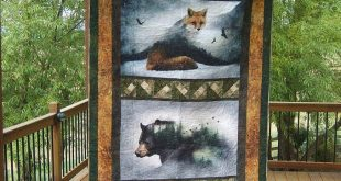 Call of the Wild Moose Quilt, Hoffman CA Fabrics, Outdoor Themed, Lap Quilt, Gifts for Hunters, Wildlife, Gifts for Men or Women, Man Cave