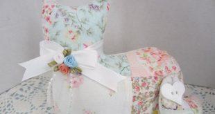 Cat Shelf Sitter, Vintage Quilt Rose Stuffed Cat, Repurposed Quilt, Handcrafted ...