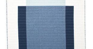 Colour Block Quilt #2 | Modern Quilt | Wallhanging | Patchwork | Cotton-Linen Throw | Blue & White B