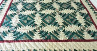 Country Quilt, Log Cabin Quilt, Handmade Quilt, Vintage Quilt, Green Cotton Quilt, Wall Hanging, Gre