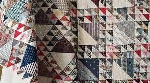 Details about Antique 1880's Quilt Cinnamon Pink Lady of the Lake brown/white shirting print b