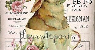 Details about ~ Shabby Chic Vintage Easter Bunny Roses 1 print on Fabric Quilting FB 177 ~