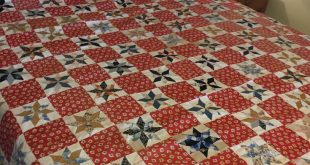 Handmade Quilt Top, Vintage Red Blue Creamy White, 8 Point Star Patchwork Cotton...