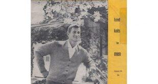 Mens Vintage 50s Knitting Patterns Spinnerin Volume 141 Hand Knits for Men Vests V Neck Sweaters Ski