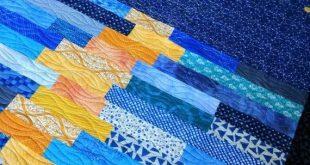 Modern Throw quilt. Sky quilt. Moon reflection quilt. Lap quilt. Homemade quilt. Ocean quilt. Blue S