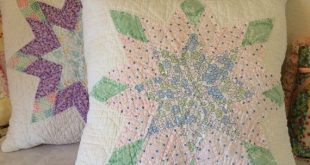 One Vintage Quilt Throw Pillow, Shabby Star Pillow, Prim Pillow, Upcycled Quilt Pillow - Ready to Ship