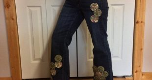 Ordinary jeans upcycled into an extraordinary pair of pants with 17 yo-yo quilt ...