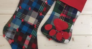 Plaid Christmas Stockings, Personalized Quilt Family Christmas Stockings, Pet Paw Print Stocking, Handmade Holiday Decor