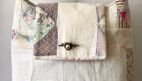 Pretty Patchwork Purse of Bag Made From Hand Stitched Vintage Quilt
