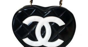RARE Chanel Vintage Quilted Black and White Patent Leather Heart Bag