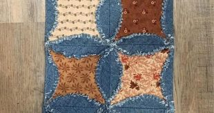 Rag Quilt Runner Country Raggy Denim and Fabric Table Runner Handmade Cathedral Window Ragged Edge Runner Farmhouse Table Decor OOAK
