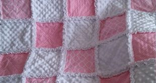 "Shabby Chic - Baby Rag Quilt - 36""x46"" Crib Quilt, Pink and White Cotton print - Flannel - Minky - Cottage style"