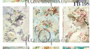 ~ Shabby Chic Vintage Stamperia Eclectic Mix 9 Small Prints on Fabric FB 198 ~ #...