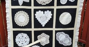 Unique Vintage Doily and Lace Lap Quilt with Matching Pillow Sham, One of A Kind Lap Quilt, Black and Ecru Throw Quilt