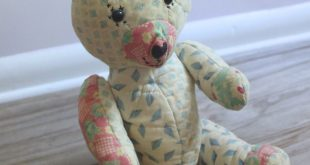 Vintage Handmade Jointed Quilt Bear | Repurposed Quilted Teddy Bear | Cream Blue and Pink Baby Gift | One of a Kind