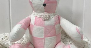 Vintage Quilt Teddy Bear, Quilted Teddy Bear, Farmhouse Teddy Bear, Patchwork Bear, Girl Teddy Bear, Pink and White Quilted T