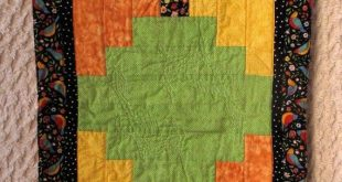 Vintage Quilted Table Runner Blocks Birds Green Orange Yellow Black Cottage Chic French Country Deco