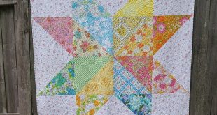 Vintage Sheet Giant Star Quilt - View 1
