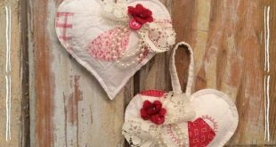 Vintage quilted hearts, pink & red shabby chic, set of 2, ornaments with hangers...