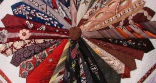 detail, Necktie quilt by Shirley Parsons, 2013 Nebraska State Fair. Photo by San...